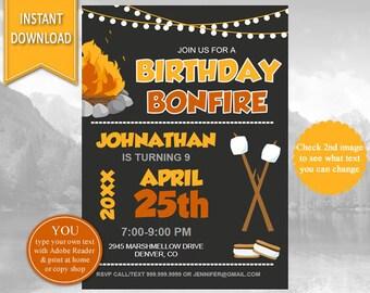Bonfire Birthday Invitation| Bonfire Birthday,Bonfire,Bonfire Party, S'mores, Birthday Invitation,Bonfire Invite,Smores, Smores Invitation