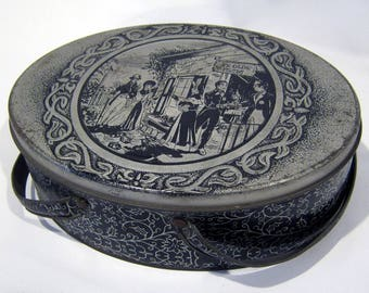 Ye Old Inn Vintage Oval Tin with Handles