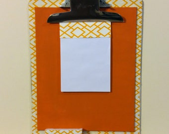 Vintage Upcycled Clipboard / Chalkboard Message Center / Office Organizer / Orange
