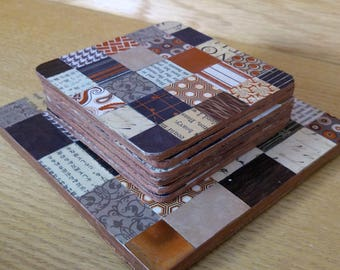 Collage Coasters and Trivet Set, Decorative Party, Artsy Coasters, Hostess Gift, Copper