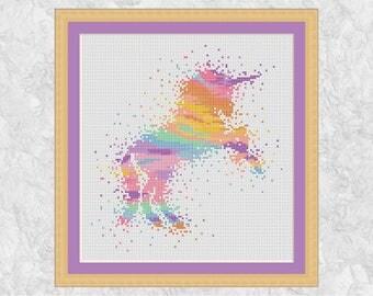 Watercolour unicorn cross stitch pattern, modern rainbow unicorn counted cross stitch chart, pastel colours, pink, purple, fantasy magic PDF