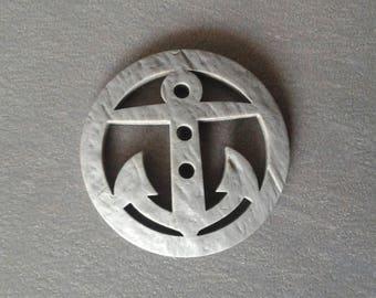 Button anchor 4.8 cm grey plastic