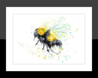 SkinnyDaz -A3 Bumble Bee Print of my Original Watercolour Painting - Open Edition
