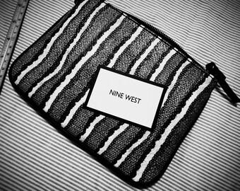 New Vintage NINE WEST Black White Clutch