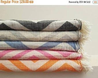 SALE Soft Stonewashed Towel - Fringed Fouta Towel - Colorful Beach Blanket - Chevron Throw - Big Bath - ZigZag TowelTowel