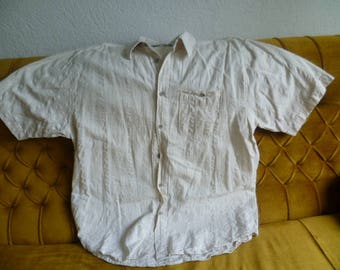 Vintage German Natural linen Cotton men's shirt, Beige  Linen Cotton Men's Shirt, Linen Clothing, Cotton Clothes, Organic Linen Shirt,