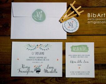 Wedding Invitation Vertical Wedding Suite Pastel
