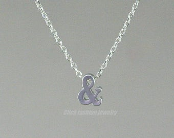 Ampersand necklace, symbol charm necklace, silver alphabet necklace, everyday simple necklace, sterling silver chain, friendship jewelry