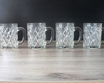 Vintage French Diamond Cut Crystal Cups
