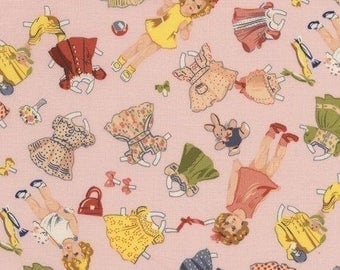 Vintage Paper Doll Fabric, Pink Cut Out Doll Fabric