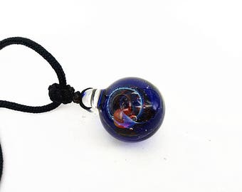 Hand Blown Glass Pendant Necklace, Dark Blue Universe Pendant, Galaxy Glass Pendant, Unique Pendant for her, Birthday Gift