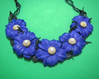 Leather Necklace Blue flowers, Blue flowers Necklace leather, Spring necklace leather, flowers neckace leather,  Wedding necklace, blue