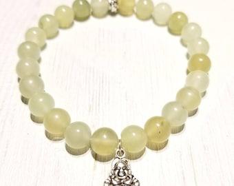 """Jade """"Smiling Buddha""""  Healing Gemstone Bracelet"""