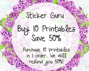 PRINTABLES COUPON DEAL // Buy 10 Printables, Save 50% // Erin Condren Mambi Happy Planner // Don't Purchase This Listing