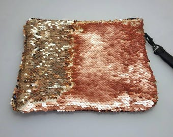 Color Changing Sequin Rose & Gold Handbag, Wristlet, Purse