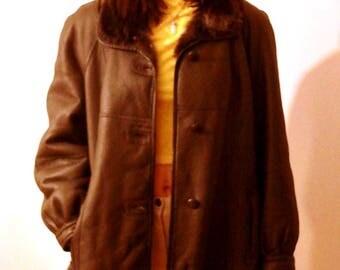 vintage shearling sheepskin leather jacket lammy coat medium large womens