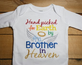 Embroidered Bodysuit Handpicked for Earth by my Brother in Heaven Hand Picked Bodysuit Rainbow Baby