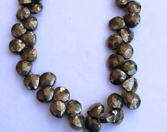 1 Strand Natural Pyrite 6-7mm  Faceted Flat Pear shape Gemstone Beads 9.5'' long strand By SHAMSHAD GEMS