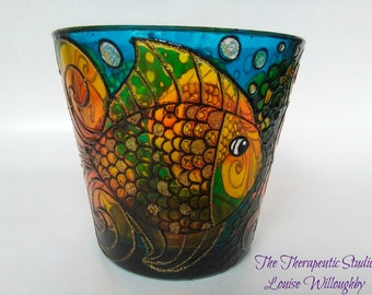Large, Doodle, Fish, aquarium, hand painted, glass, art, candle holder, gift, home decor