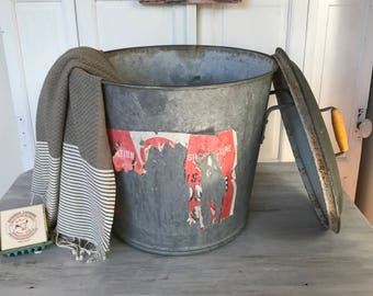Huge vintage French zinc bucket with lid