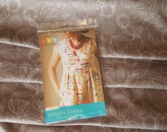 Made by Rae Washi Dress dress making kit Cloud 9 Double Gauze Fabric beige and white floral fabric independent pattern 3 metres of fabric