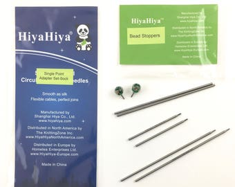 HiyaHiya Single Point Adapter Sock Set, Includes Glass Bead Cable Stoppers fits Sock Cable tips in needle sizes 0-1.5 US/2-2.5mm