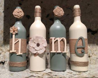 Burlap HOME decor wine bottles