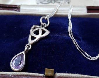 Kit heath vintage sterling silver necklace,1993, celtic knot, amethyst