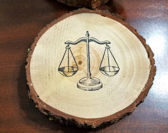 Law and Order Natural Wood Slice Coasters Set of 2