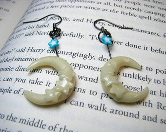 Moon Earrings-GLOW in the Dark-Glow Earrings-Crecent Moons-Polymer Clay-OOAK