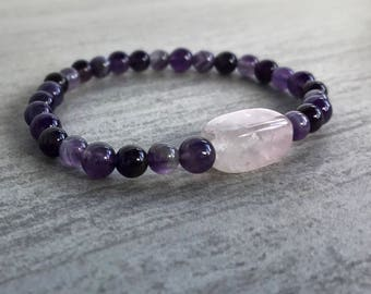 Amethyst and Rose Quartz Natural Stone Bracelet Healing Crystals and Stones Natural Stone Jewelry Amethyst Crystal Jewelry Birth Stone Gems
