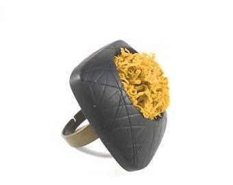 Black and orange designer ring