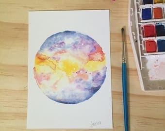 Galaxy Planet Watercolor Art Print Original Art