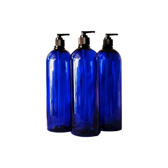 32 oz Plastic Bottle Cobalt Blue PET Round Bottles w/ Black Lotion Pumps Available in 1 & 3+ Kraft Labels