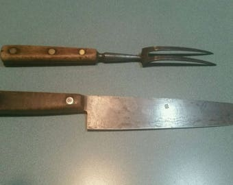 Vintage Lamson & Goodnow 71166 Butcher Knife and Fork