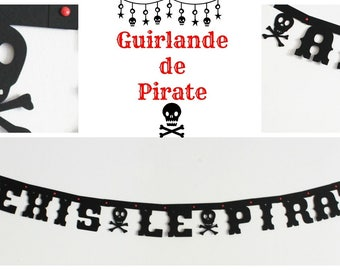 Garland for child birthday pirate-personalized with the name of child-black