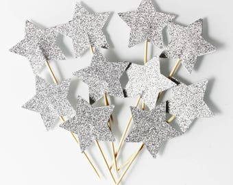 10 cupcakes toppers (cupcake toppers) silver stars with glitter - Christmas Decor