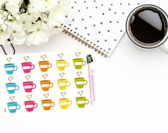 Planner Stickers | Coffee Date Reminder Stickers| Coffee Cup Stickers| Cute Coffee Cup Reminder Stickers|D016