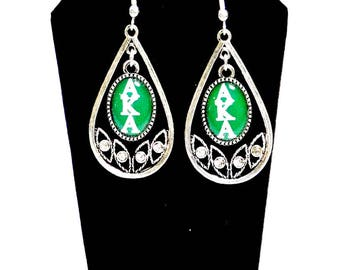 Alpha Kappa Alpha Sorority Letters Tear Drop Earrings  AKA159