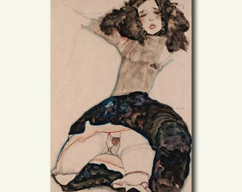 Printed On Textured Bamboo Art Paper - Black Haired Girl With Lifted Skirt - Egon Schiele Print Schiele Poster Gift Idea Schiele Art  bp