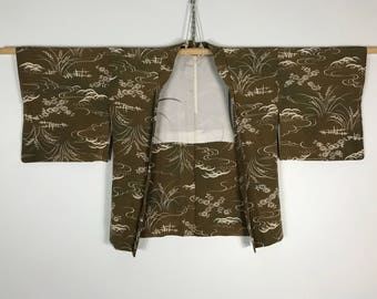 D830 Vintage Japanese Haori Kimono Womens Silk Cardigan Jacket Brown