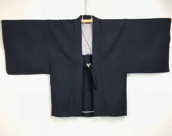 D990 Vintage Japanese Haori Kimono Mens Cotton Cardigan Jacket Blue