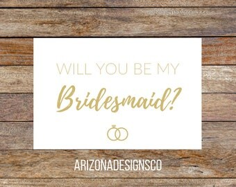 Will You Be My Bridesmaid Card Gold   Bridesmaid Gift, Wedding Invite, Wedding Gift   Instant Download