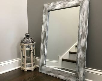 mirror whitewash wood wood frame mirror rustic wood mirror bathroom mirror