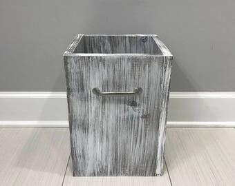 White Rustic Garbage Can, Bathroom Trash Can, 4 Gallon Trash, Office  Storage,