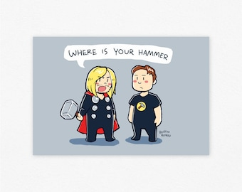 Where is Your Hammer? Marvel Thor & Dr. Horrible Captain Hammer Crossover Illustration Print