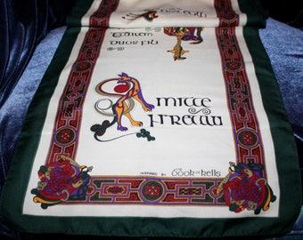 80's, Celtic, Book of Kells, Vintage, Irish, Ireland, Scarf, Shawl, Latin, Gaelic, Kells, Green, Red, Antique, Knot, Design, Gift, Accesory