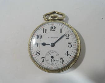 1929 Hamilton Rail Road Pocket Watch 992 21 Jewel Montgomery Dial 16 Size