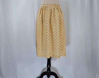 Vintage 80s 90s high waisted silk tan patterned midi skirt // Size XS / S