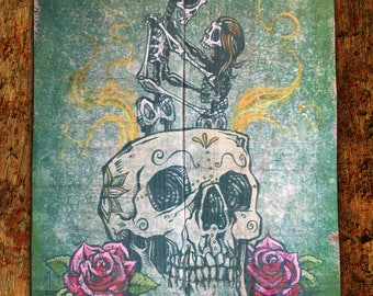 Amor Eterno by David Lozeau Official Day of the Dead Wood Art nautical Valentine Love